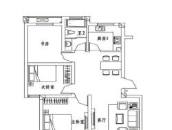 三室二廳一衛 90.16平方